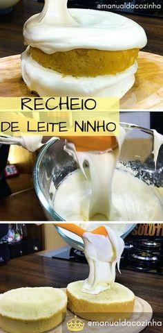 Receita de Recheio de Leite Ninho para Bolos! Rechear Bolos nunca foi tão gostoso e fácil fazer um recheio! #receita #bolo #leiteempo #leiteninho #comida #bolo #culinaria #chef #manualdacozinha #aguanaboca #gastronomia