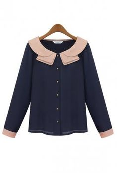 Debutante Dilemma Contrast Color Collar Blouse in Navy/Pink 1