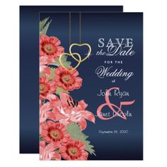 Gold Heart and Coral Flowers - Save The Date Card - metal style gift ideas unique diy personalize