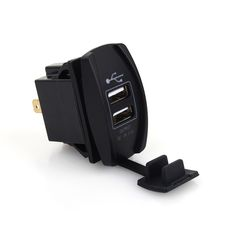 Blue Led Car Boat Dual USB Power Waterproof Charger Carling ARB Rocker Switch Motorcycle Charging * Check out the image by visiting the link.