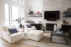 Remodel - new fireplace, flooring, floating shelves
