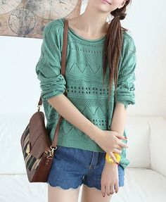 Cut Out Knitted Jumpers with High Low Hem, $29