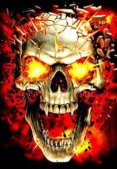 Skull on fire Ghost Rider Wallpaper, Skull Wallpaper, Dark Fantasy Art, Dark Art, Skull Fire, Grim Reaper Art, Skeleton Drawings, Skull Stencil, Badass Skulls