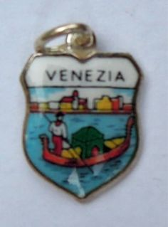 Venezia Venice Italy Gondola Silver Travel Shield Charm | eBay