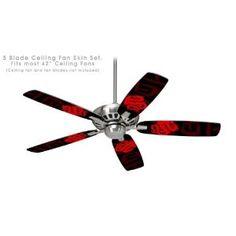 Ceiling Fan Skin Kit (fits most 42inch fans) - Oriental Dragon Red on Black - (Fan and fan blades NOT INCLUDED) by wallthat