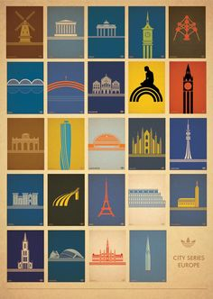 Adidas Poster Project - European City Series - City icons in silhouette