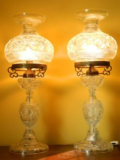 """Antique Glass Lamps Carved Crystal Art Decorative Pair of Beautiful Lamps 34""""   eBay"""