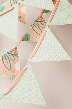 Peach and mint bunting from Oh So Beautiful Paper.