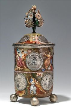 Viennese silver gilt enamel vase with cover