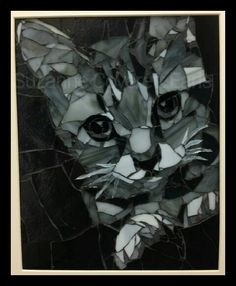 Custom stained glass mosaic cat and dog portraits by Pieceful Arts. 8x10 $175 SOLD. Www.etsy.com/shop/PiecefulArts Black and white tabby kitten
