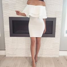 Love this white off the shoulder dress                                                                                                                                                      More