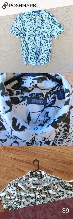 Kenneth Cole shirt for men Short sleeves summer shirt for men. Seefoam leaves.  Good condition. Measures provided in photos Kenneth Cole Shirts Casual Button Down Shirts