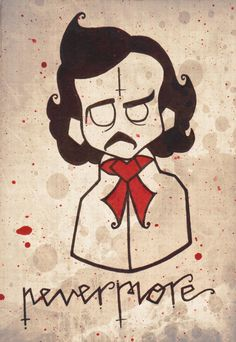 edgar allen poe  nevermore 5x7 art print by thecreeplys