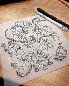 Disney design ready to go!  #Disney #disneytattoo #thelittlemermaid #prince #drawing #sketch #doodle #design #tattoodesign #ariel #arieltattoo #ursula #evil #tentacles #thighpiece #thightattoo #artist #femaleartist #femaletattooist #tattoos #tattooist #tattooartist #erdington #birmingham #jaygeesink