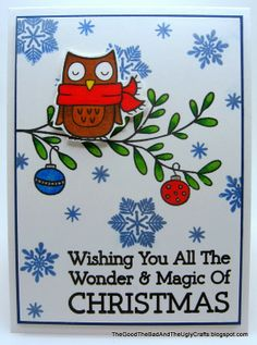 Winter Owl Christmas Card using Hero Arts and Lawn Fawn stamps