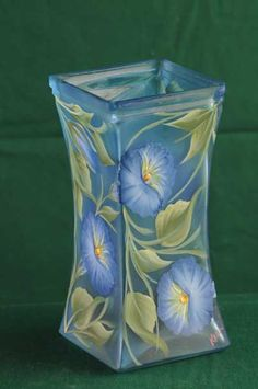 Tall Square Blue Flared Lighted Vase / Lamp / Floral by ArteeVita