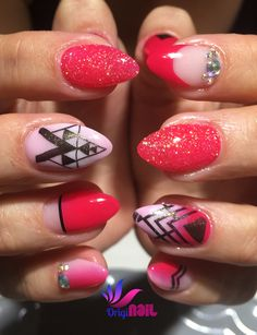 Get Buffed inspiration nails Red pink white  Stamp Glitter Diamonds Ombre