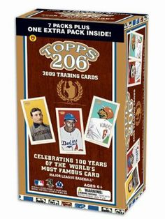 Topps 2009 T206 Blaster (8 Packs) by Topps. $27.98. Each box contains 8 packs of 6 random cards for 48 cards in total; There are 300 base cards and 50 short prints in the complete set. 8 Packs per Box, 6 Cards per Pack.  Topps pays tribute to the trading cards that launched an American phenomenon with Topps T-206 Baseball 100th Anniversary Cards.  Showcasing Topps classic photography, these cards offer a unique perspective of 300 current, future, and legendary MLB players.