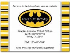 Batman Party Invite