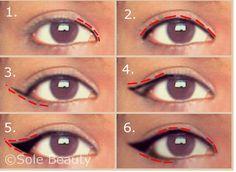 <alt>Cat / winged eyeliner for hooded eyelids or eyes. Only 6 steps! Eyeliner For Hooded Eyelids, Eyeliner Flick, Makeup Tutorial Eyeliner, Hooded Eye Makeup, How To Apply Eyeliner, Hooded Eyes, No Eyeliner Makeup, Winged Eyeliner, Eyeliner Styles