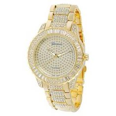 Wristwatches Hip Hop Mens Gold Plated Cubic Zirconia Cz Geneva Bling Iced Out Wrist Watch Gold And Silver Watch, Gold Watch, Gold Gold, Gold Platinum, Geneva Platinum, Timex Expedition, Beautiful Watches, Watch Sale, Watch Bands