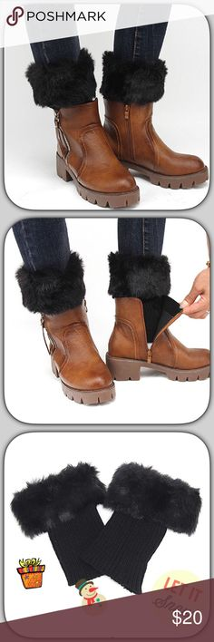 NWT Furry Fuzzy Thick Black Boot Toppers These are cozy and so warm! Can be worn with short or tall boots! Add leggings or skinny jeans for a nice winter look! Boutique Accessories Hosiery & Socks