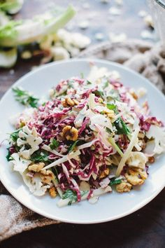shaved cauliflower salad w/ radicchio, walnuts, + citrus mustard dressing