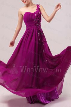 Chiffon One Shoulder Floor Length Empire Prom Dress with Handmade Flowers [2512] - $379.00 : Wedding Dresses