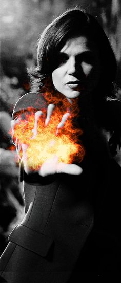 """""""I set fire.... to the rain. Watch it burn as I touch your face."""" Hmmm... maybe Regina's magic can be used to stop Elsa?"""