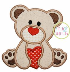 "Valentine Heart Bear Applique Design For Machine Embroidery (""Cinnamon Cake"" Font is NOT included) INSTANT DOWNLOAD now available"