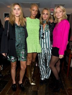 "Don't Miss a Single Celebrity at London Fashion Week Day 3 Suki Waterhouse, Adwoa Aboah, Cara Delevingne, and Clara Paget at the launch of i-D's ""The Female Gaze"" issue."