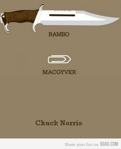 Chuck Norris doesn't need a weapon.  Chuck Norris IS the weapon.