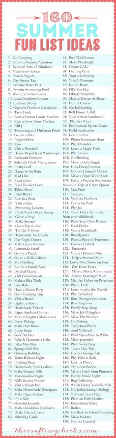 160 Summer Fun List
