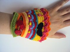 Colorful Freeform Crochet Cuff with small mustache   by zBRKazdola, $40.00