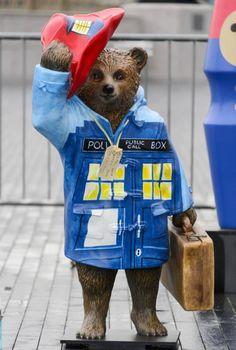 Mandatory Credit: Photo by Ray Tang/REX (4230974ac) A Paddington Bear named Paddington Who? decorated by Peter Capaldi Hugh Bonneville launching The Paddington Trail, London, Britain - 03 Nov 2014