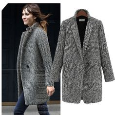 Winter Coat Women Houndstooth Wool Blend Coat Single Button Pocket Oversize Long Trench Coat Outerwear Wool Coat For Women Long Parka Coats, Long Trench Coat, Trench Jacket, Wool Coats, Long Overcoat, Women's Coats, Houndstooth Coat, Tweed Coat, Winter Coats Women