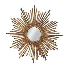 Midwest-CBK 303795 Sunburst Golden Metal Ribbon Decorative Mirror at ATG Stores | Dining Room