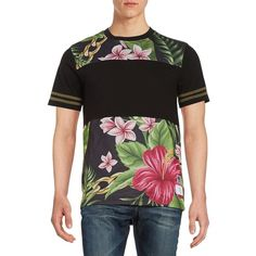 Reason Short Sleeved Floral Mesh Tee ($36) ❤ liked on Polyvore featuring men's fashion, men's clothing, men's shirts, men's t-shirts, black, mens short sleeve shirts, mens short sleeve t shirts, mens floral t shirt, mens floral shirts and mens mesh shirt