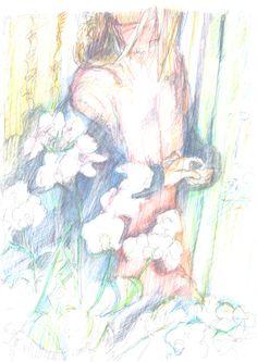 Guido Michl, Blumen nach den Tränen, Graphit / Buntstift auf Papier, 29,7 x 21 cm, 2009, 250 €