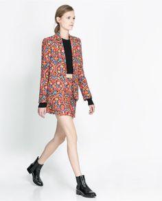 zara printed skirt and jacket.