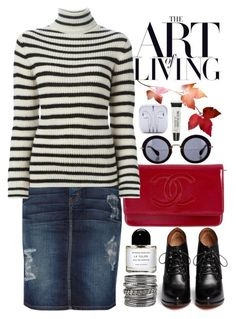 """""""Fall Casual"""" by crblackflag on Polyvore featuring Chanel, Miu Miu, Current/Elliott, IRO, Givenchy, maurices, Torrid, Byredo, jeanskirt and LaceUpBoots"""