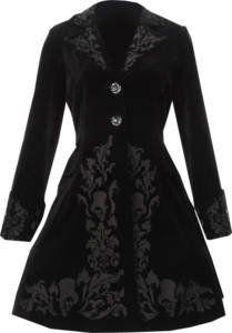 Victorian Black Velvet Gothic Hell Bunny Dress Coat: Amazon.co.uk: Clothing