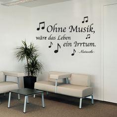 Jeder liebt sie. Jeder mag sie. Jeder hört sie. #OhneMusik #Zitat #Wadeco // http://www.wadeco.de/ohne-musik-wandtattoo.html