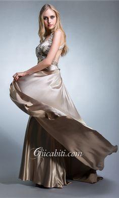 Satino Treno Corto Vestito Stupendo Cerimonia ACM021 #chicabiti