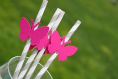 Butterfly Birthday Party, Princess Party, Grey Pixie Striped Paper Straws, Hot Pink Butterflies - Set of 25. $18.75, via Etsy.