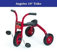 """Angeles 10"""" Trike. Comfort back support. Heavy duty rubber handgrips. Recessed no pinch hub design. Long lasting, self lubricating nylon bearings. One piece welded crank. Non exposed pedal hardware. Durable powder coated welded steel frame. Solid rubber tires on spoke less steel wheels. Recommended for ages 3 - 4 years. Guarantee: Five years. Warranty: Five years. Fully assembled in U.S.A.. No assembly required. Seat height: 13 in.. Handlebars height: 21.49 in.. Weight: 24 lbs."""
