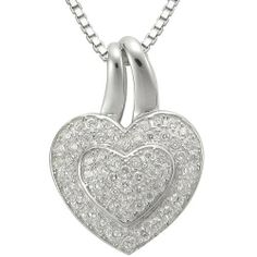 """Sterling Silver Clear Cubic Zirconia Heart Pendant Necklace, 18"""" Amazon Curated Collection. $69.00. Made in China"""