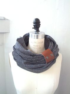 Chunky charcoal circular infinity scarf by System63 on Etsy