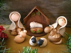 Heres a sweet 8 piece nativity set that includes Mary, Joseph, baby Jesus, Nativity Crafts, Christmas Nativity, Christmas Crafts, Christmas Decorations, Xmas, Christmas Ornaments, Nativity Sets, Sculpey Clay, Polymer Clay Projects