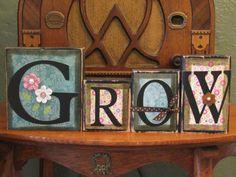 Spring Decor - Grow Spring Sign Word Blocks. $36.00, via Etsy.
